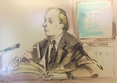 The courtroom watercolor of Mark giving testimony at the trial of OJ Simpson