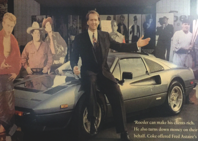 An article featuring Mark on his Ferrari, surrounded by cutouts of some of his clients